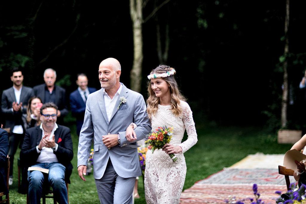 l'arrivo della sposa durante il rito civile